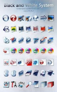 Black and White System icons