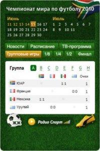 Виджет статистики Чемпионата мира по футболу 2010