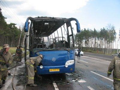 В воскресенье на трассе М-7 около Дзержинска загорелся автобус, никто из пассажиров не пострадал