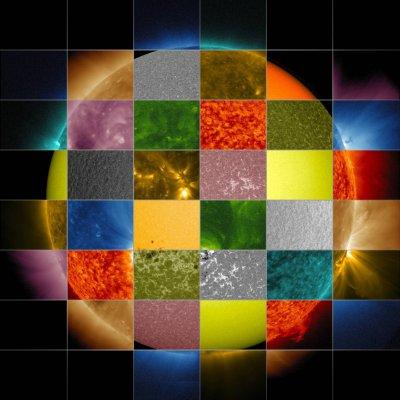 Коллаж из изображений Солнца от NASA