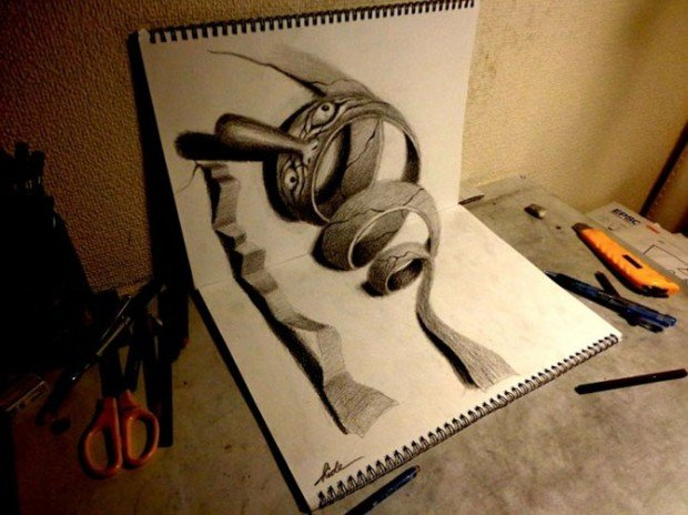 как нарисовать 3d рисунок карандашом: