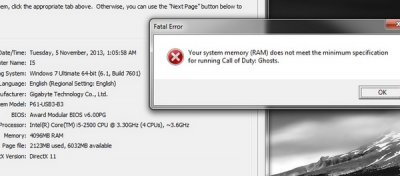 Call of Duty: Ghosts для PC использует не больше 2 ГБ RAM, но не запустится, если у вас меньше 6 ГБ RAM