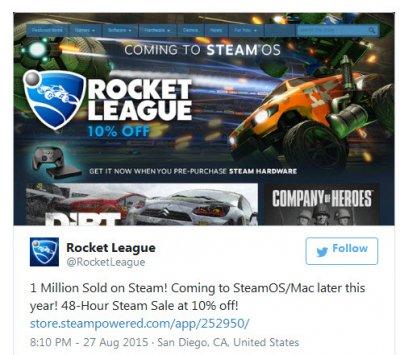Продажи Rocket League в Steam превысили 1 млн копий